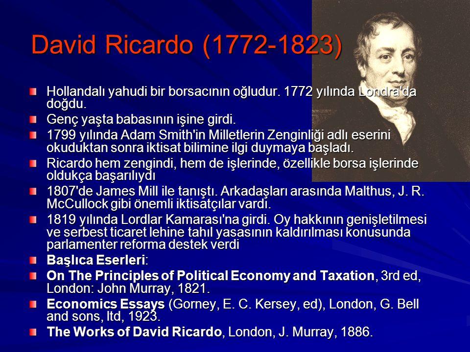Karşılaştırmalı Üstünlükler Teorisi David Ricardo tarafından-1817 yılında ortaya atıldı Bir ülke her iki malın üretiminde de mutlak üstün olursa, ne o