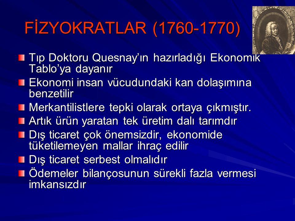 FİZYOKRATLAR (1760-1770) Tıp Doktoru Quesnay'ın hazırladığı Ekonomik Tablo'ya dayanır Ekonomi insan vücudundaki kan dolaşımına benzetilir Merkantilistlere tepki olarak ortaya çıkmıştır.
