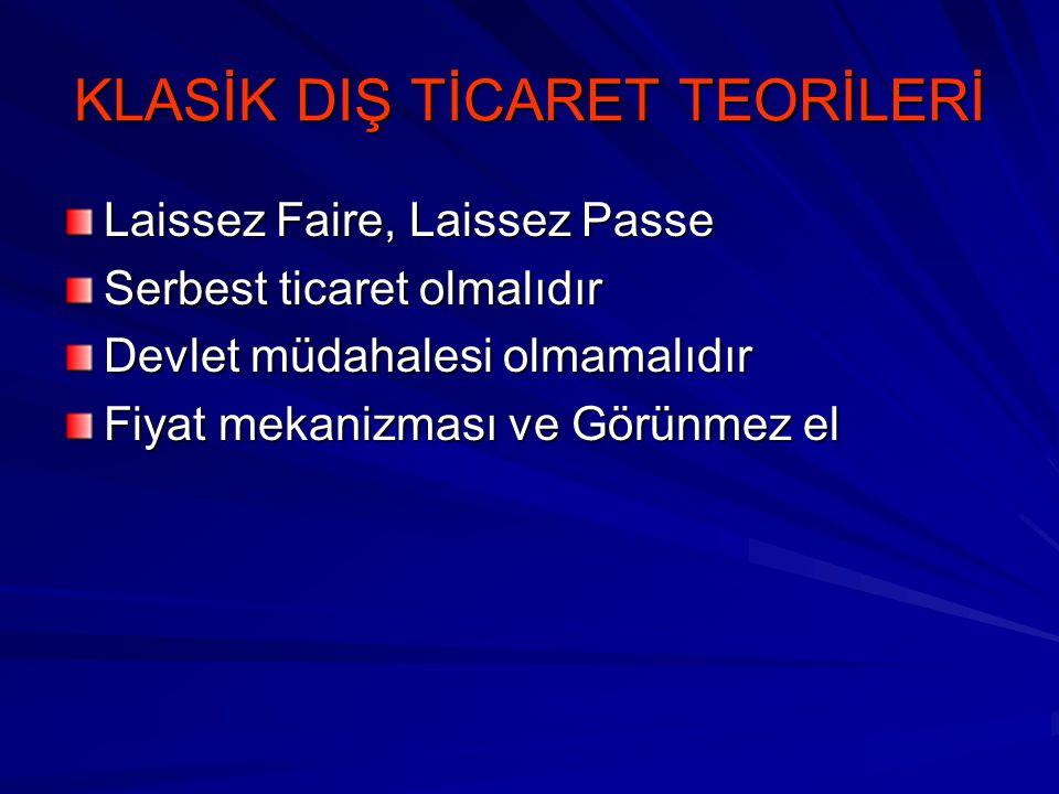 KLASİK DIŞ TİCARET TEORİLERİ Laissez Faire, Laissez Passe Serbest ticaret olmalıdır Devlet müdahalesi olmamalıdır Fiyat mekanizması ve Görünmez el