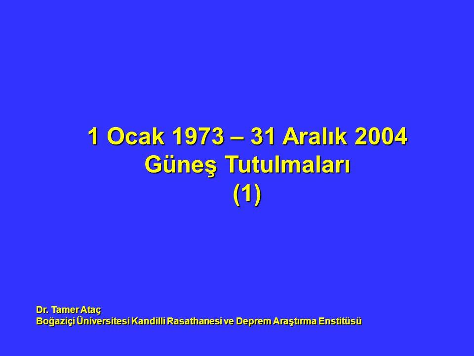 1 Ocak 1973 – 31 Aralık 2004 Güneş Tutulmaları (1) Dr. Tamer Ataç Boğaziçi Üniversitesi Kandilli Rasathanesi ve Deprem Araştırma Enstitüsü