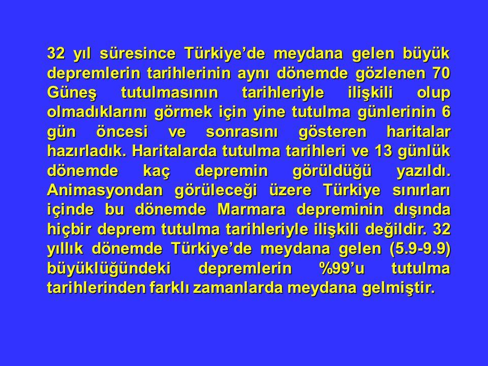 32 yıl süresince Türkiye'de meydana gelen büyük depremlerin tarihlerinin aynı dönemde gözlenen 70 Güneş tutulmasının tarihleriyle ilişkili olup olmadı