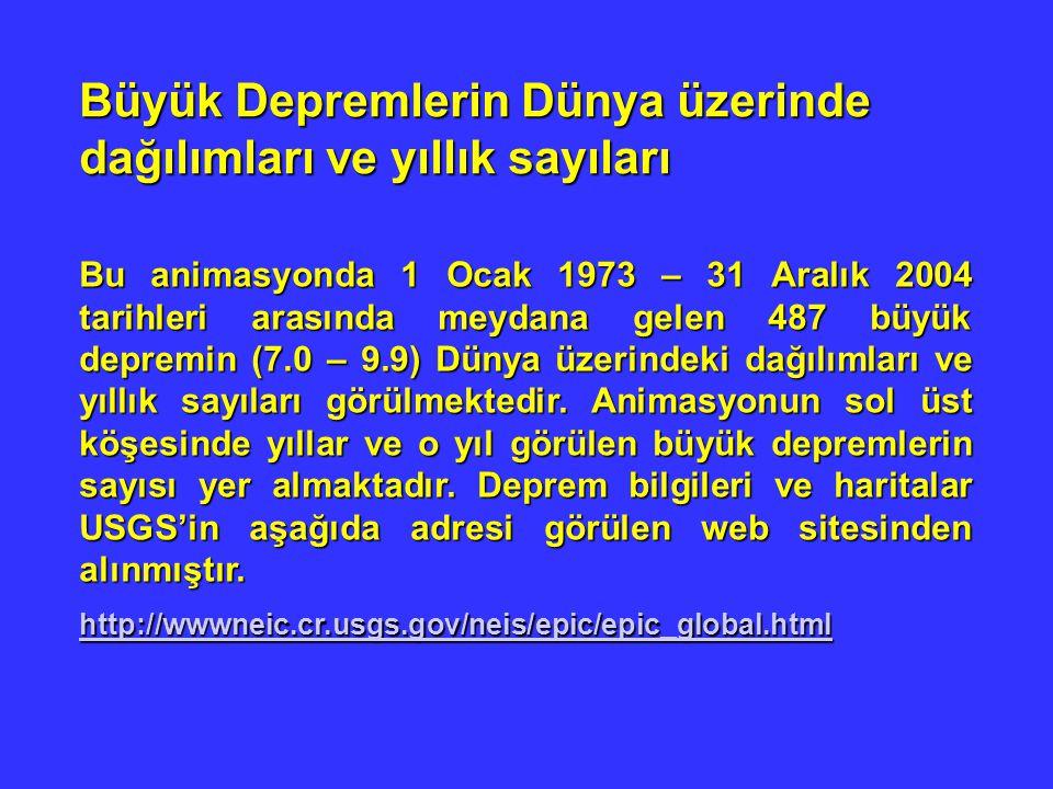 Büyük Depremlerin Dünya üzerinde dağılımları ve yıllık sayıları Bu animasyonda 1 Ocak 1973 – 31 Aralık 2004 tarihleri arasında meydana gelen 487 büyük