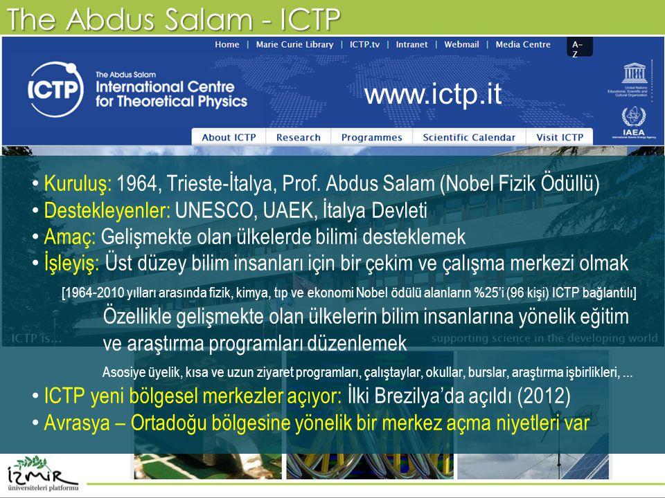 The Abdus Salam - ICTP • Kuruluş: 1964, Trieste-İtalya, Prof. Abdus Salam (Nobel Fizik Ödüllü) • Destekleyenler: UNESCO, UAEK, İtalya Devleti • Amaç: