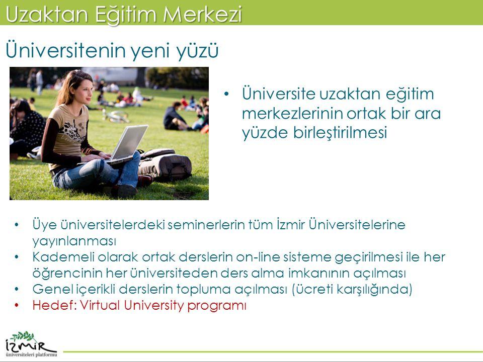 Uzaktan Eğitim Merkezi Üniversitenin yeni yüzü • Üniversite uzaktan eğitim merkezlerinin ortak bir ara yüzde birleştirilmesi • Üye üniversitelerdeki s