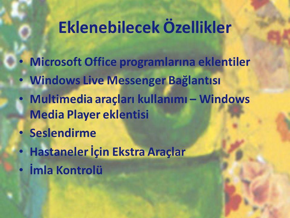Eklenebilecek Özellikler • Microsoft Office programlarına eklentiler • Windows Live Messenger Bağlantısı • Multimedia araçları kullanımı – Windows Med
