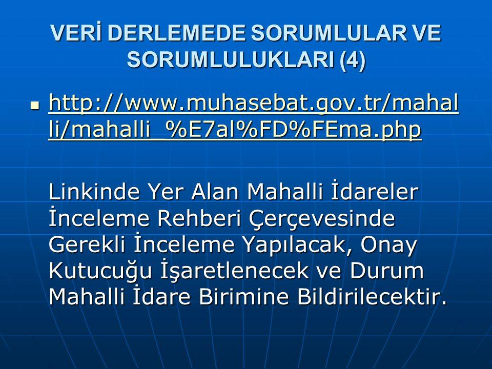 VERİ DERLEMEDE SORUMLULAR VE SORUMLULUKLARI (4)  http://www.muhasebat.gov.tr/mahal li/mahalli_%E7al%FD%FEma.php http://www.muhasebat.gov.tr/mahal li/
