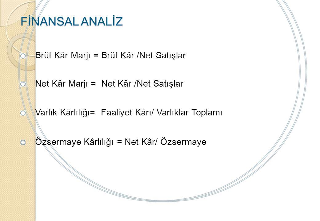 FİNANSAL ANALİZ Finansal Yapı Oranları: İşletmenin mali yapısını ölçen oranlar..