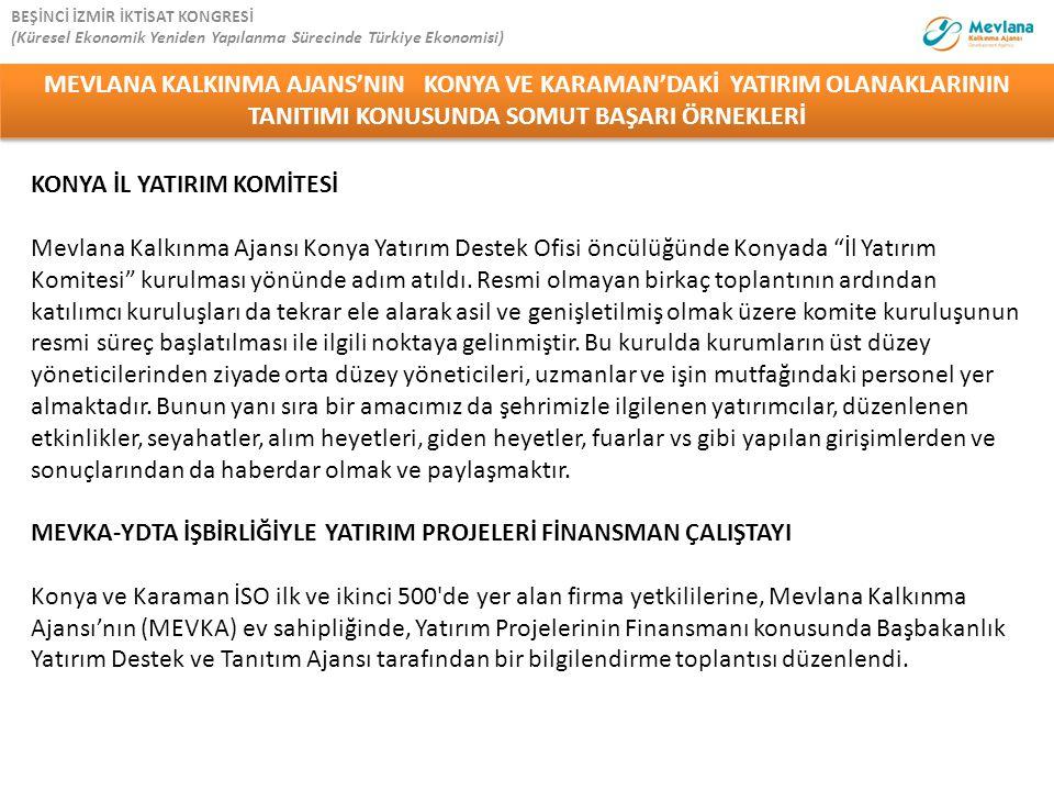 """KONYA İL YATIRIM KOMİTESİ Mevlana Kalkınma Ajansı Konya Yatırım Destek Ofisi öncülüğünde Konyada """"İl Yatırım Komitesi"""" kurulması yönünde adım atıldı."""