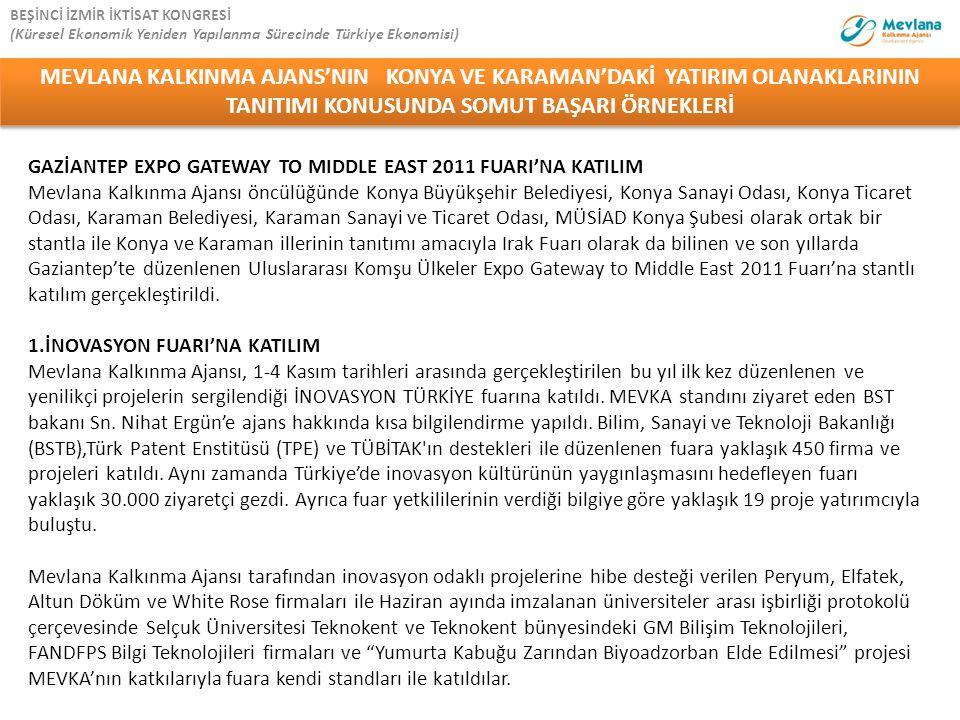 GAZİANTEP EXPO GATEWAY TO MIDDLE EAST 2011 FUARI'NA KATILIM Mevlana Kalkınma Ajansı öncülüğünde Konya Büyükşehir Belediyesi, Konya Sanayi Odası, Konya
