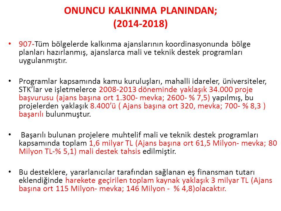 ONUNCU KALKINMA PLANINDAN; (2014-2018) • 907-Tüm bölgelerde kalkınma ajanslarının koordinasyonunda bölge planları hazırlanmış, ajanslarca mali ve tekn