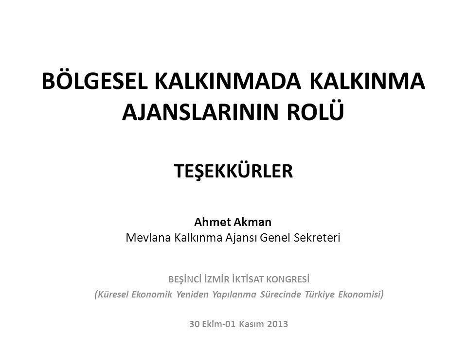 BÖLGESEL KALKINMADA KALKINMA AJANSLARININ ROLÜ TEŞEKKÜRLER Ahmet Akman Mevlana Kalkınma Ajansı Genel Sekreteri BEŞİNCİ İZMİR İKTİSAT KONGRESİ (Küresel