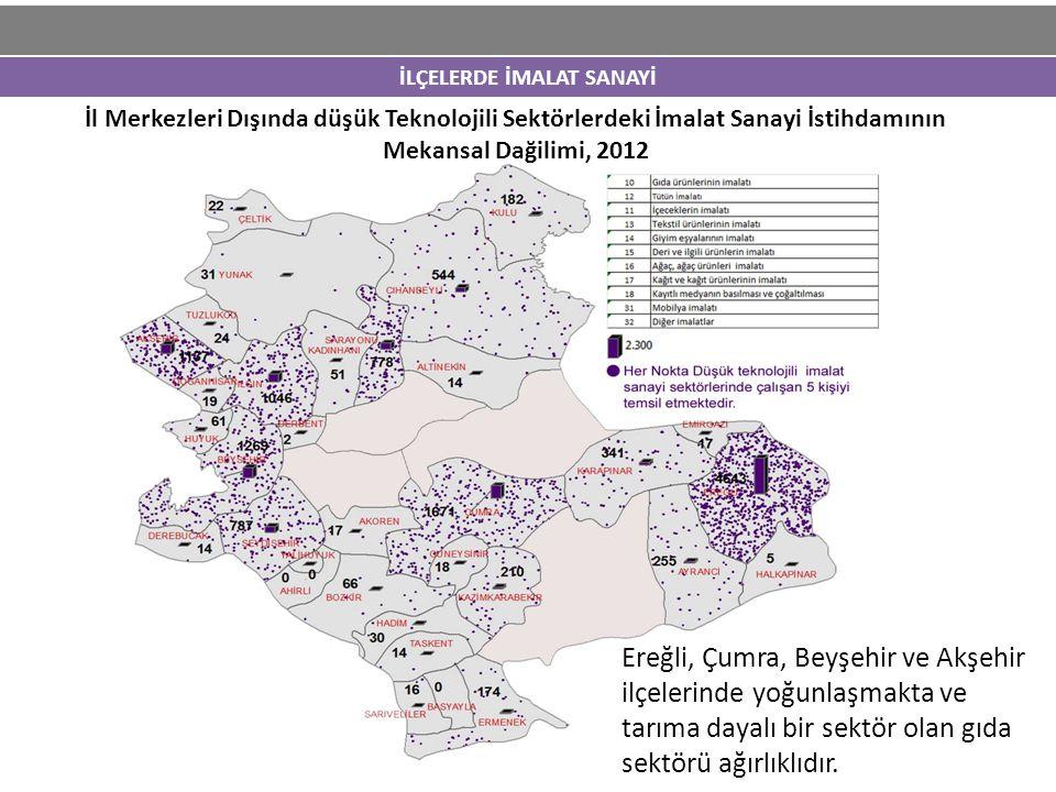İLÇELERDE İMALAT SANAYİ İl Merkezleri Dışında düşük Teknolojili Sektörlerdeki İmalat Sanayi İstihdamının Mekansal Dağilimi, 2012 Ereğli, Çumra, Beyşeh