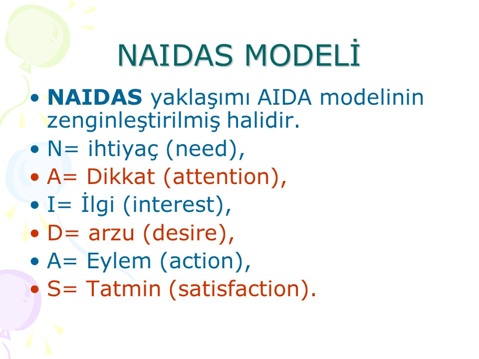 NAIDAS MODELİ •NAIDAS yaklaşımı AIDA modelinin zenginleştirilmiş halidir.