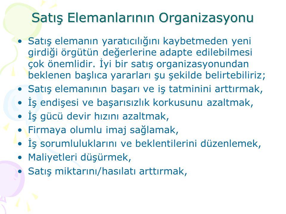 Satış Elemanlarının Organizasyonu •Satış elemanın yaratıcılığını kaybetmeden yeni girdiği örgütün değerlerine adapte edilebilmesi çok önemlidir.