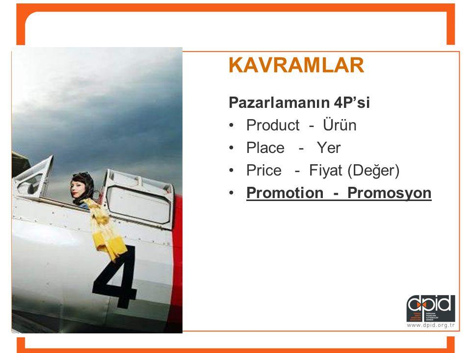 KAVRAMLAR Pazarlamanın 4P'si •Product - Ürün •Place - Yer •Price - Fiyat (Değer) •Promotion - Promosyon