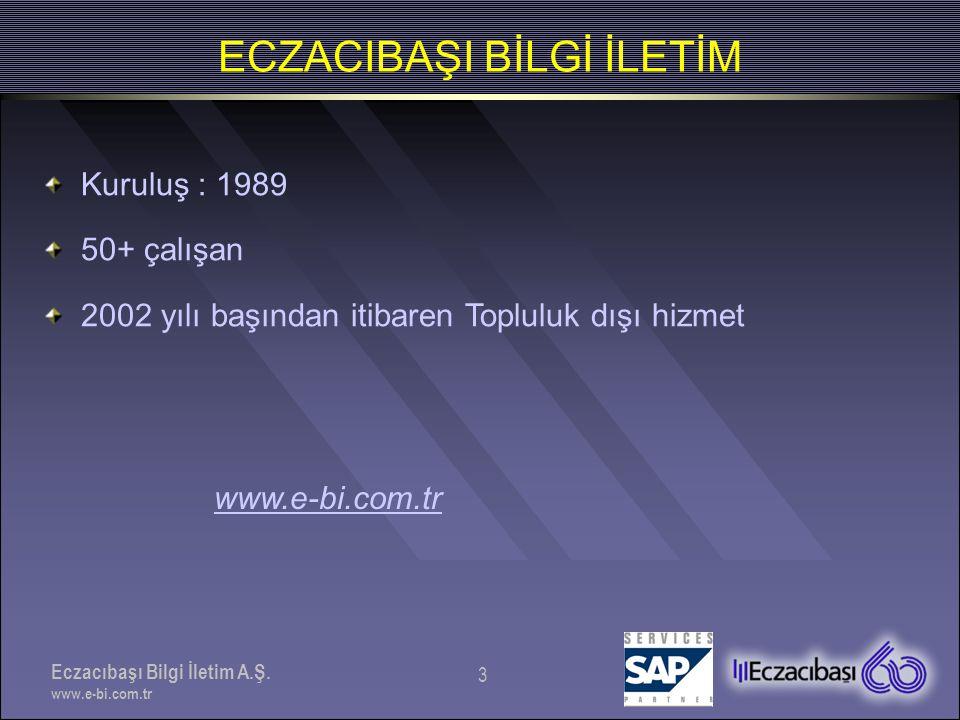 Eczacıbaşı Bilgi İletim A.Ş. www.e-bi.com.tr 3 ECZACIBAŞI BİLGİ İLETİM Kuruluş : 1989 50+ çalışan 2002 yılı başından itibaren Topluluk dışı hizmet www