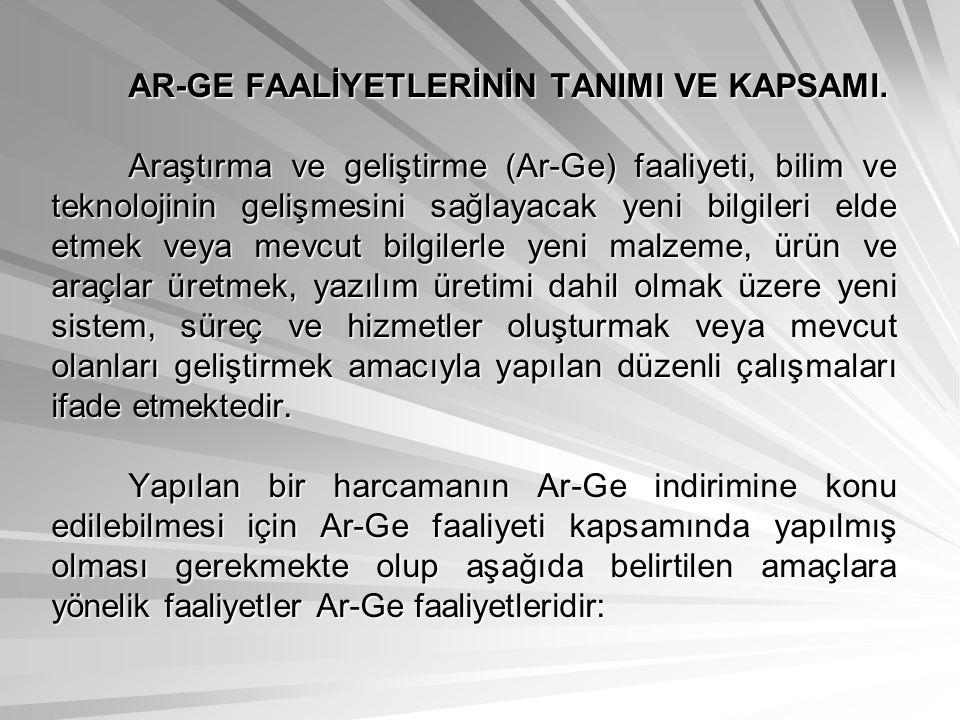 AR-GE FAALİYETLERİNİN TANIMI VE KAPSAMI.