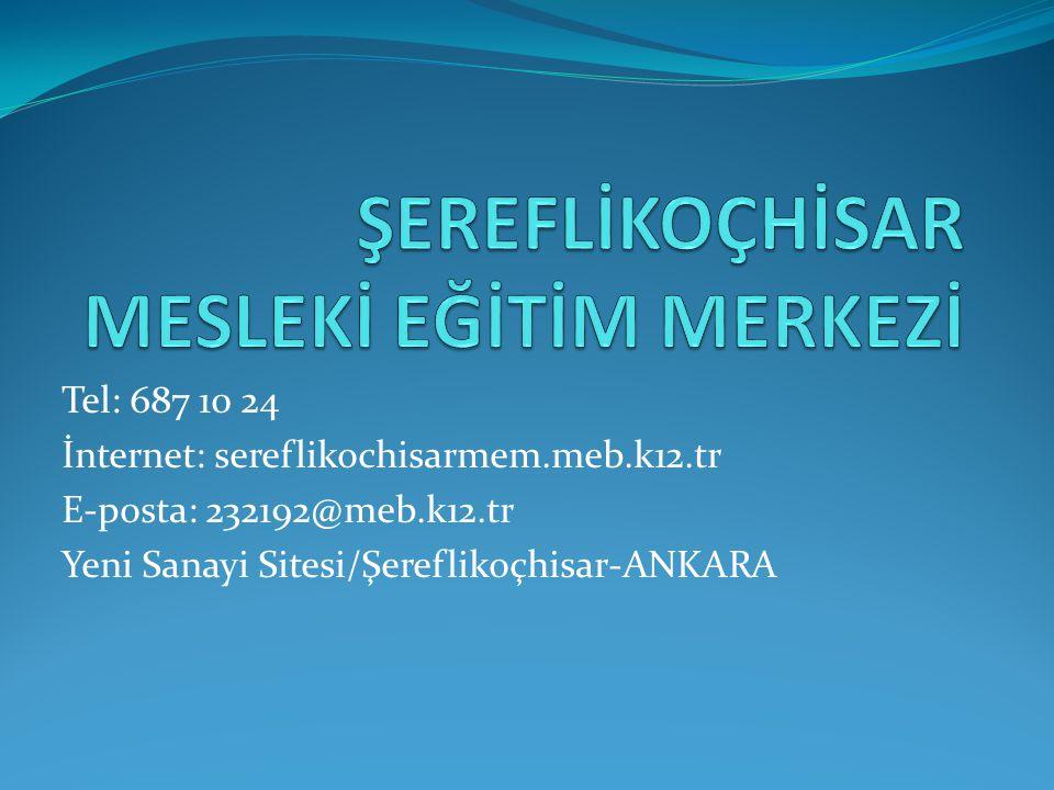 Tel: 687 10 24 İnternet: sereflikochisarmem.meb.k12.tr E-posta: 232192@meb.k12.tr Yeni Sanayi Sitesi/Şereflikoçhisar-ANKARA