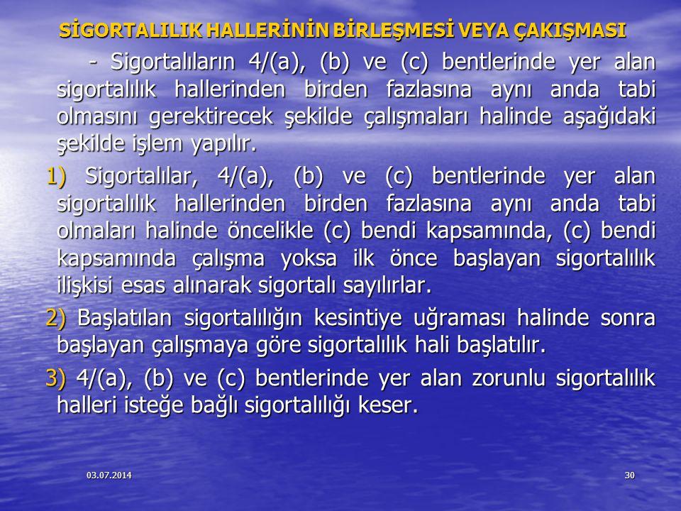 03.07.201431 SİGORTALILIK HALLERİNİN BİRLEŞMESİ VEYA ÇAKIŞMASI SİGORTALILIK HALLERİNİN BİRLEŞMESİ VEYA ÇAKIŞMASI 4) İsteğe bağlı sigortalı olanların 5510 sayılı Kanunun 4 üncü maddenin birinci fıkrasının (a), (b) ve (c) bentleri kapsamına tabi olacak şekilde çalışmaya başlamaları halinde, isteğe bağlı sigortalılık hali sona erer.