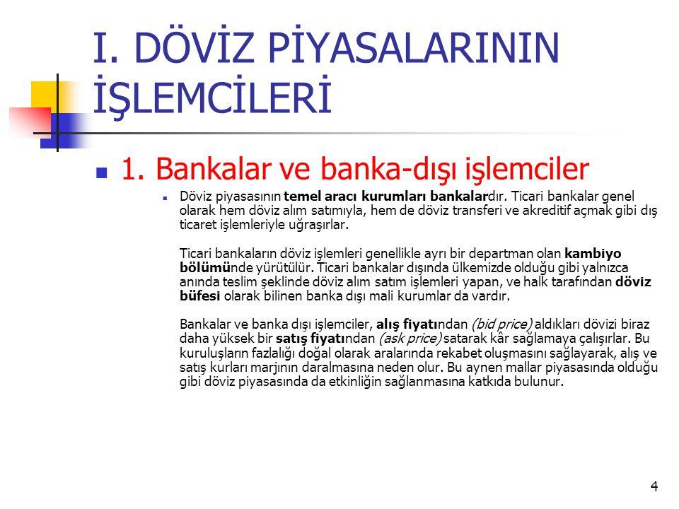 4 I. DÖVİZ PİYASALARININ İŞLEMCİLERİ  1. Bankalar ve banka-dışı işlemciler  Döviz piyasasının temel aracı kurumları bankalardır. Ticari bankalar gen
