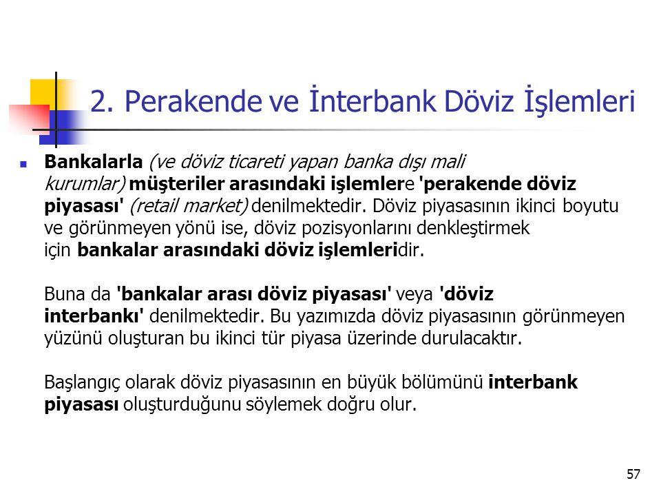 2. Perakende ve İnterbank Döviz İşlemleri  Bankalarla (ve döviz ticareti yapan banka dışı mali kurumlar) müşteriler arasındaki işlemlere 'perakende d