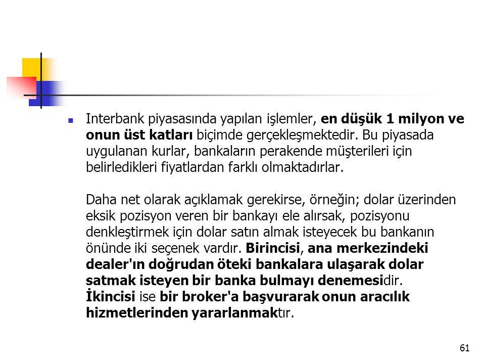  Interbank piyasasında yapılan işlemler, en düşük 1 milyon ve onun üst katları biçimde gerçekleşmektedir. Bu piyasada uygulanan kurlar, bankaların pe