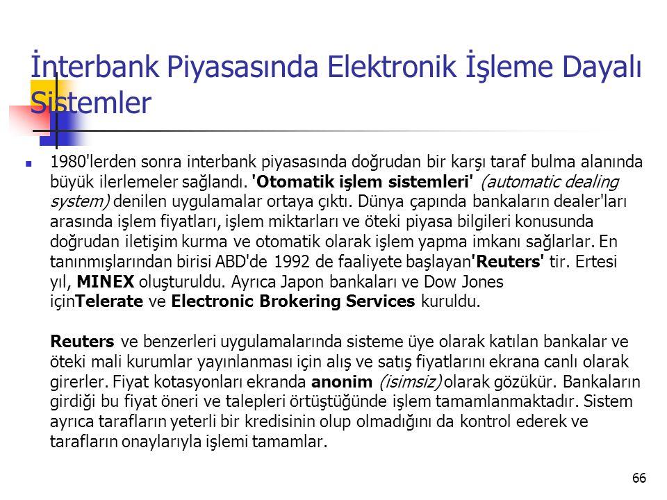 İnterbank Piyasasında Elektronik İşleme Dayalı Sistemler  1980 lerden sonra interbank piyasasında doğrudan bir karşı taraf bulma alanında büyük ilerlemeler sağlandı.