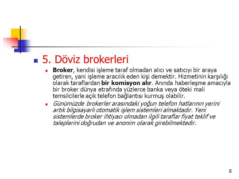  5. Döviz brokerleri  Broker, kendisi işleme taraf olmadan alıcı ve satıcıyı bir araya getiren, yani işleme aracılık eden kişi demektir. Hizmetinin