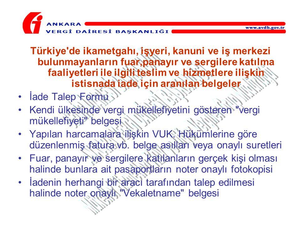 Türkiye'de ikametgahı, işyeri, kanuni ve iş merkezi bulunmayanların fuar,panayır ve sergilere katılma faaliyetleri ile ilgili teslim ve hizmetlere ili