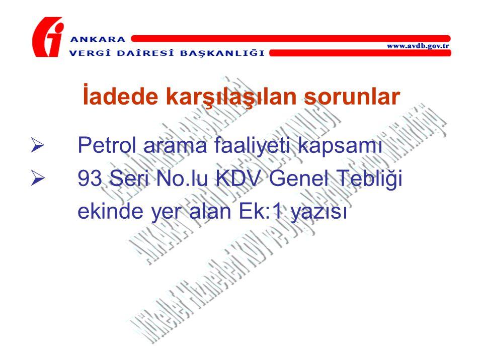 İadede karşılaşılan sorunlar  Petrol arama faaliyeti kapsamı  93 Seri No.lu KDV Genel Tebliği ekinde yer alan Ek:1 yazısı