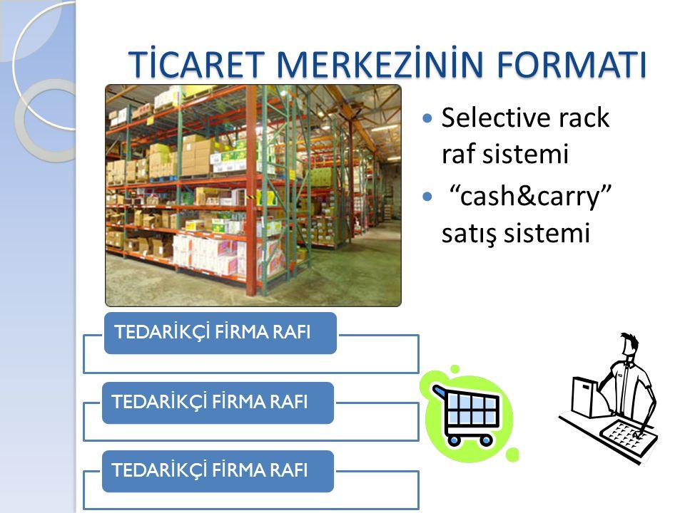 "TİCARET MERKEZİNİN FORMATI  Selective rack raf sistemi  ""cash&carry"" satış sistemi TEDAR İ KÇ İ F İ RMA RAFI"