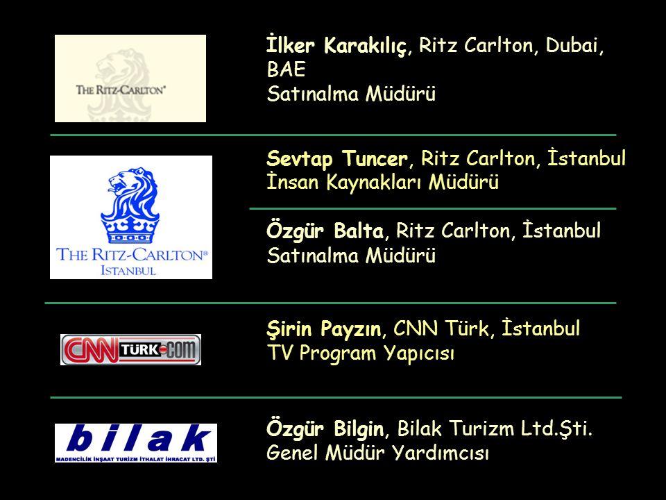 İlker Karakılıç, Ritz Carlton, Dubai, BAE Satınalma Müdürü Sevtap Tuncer, Ritz Carlton, İstanbul İnsan Kaynakları Müdürü Özgür Balta, Ritz Carlton, İstanbul Satınalma Müdürü Şirin Payzın, CNN Türk, İstanbul TV Program Yapıcısı Özgür Bilgin, Bilak Turizm Ltd.Şti.