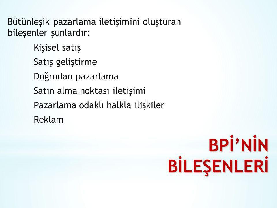 BPİ'NİN BİLEŞENLERİ Bütünleşik pazarlama iletişimini oluşturan bileşenler şunlardır: Kişisel satış Satış geliştirme Doğrudan pazarlama Satın alma nokt
