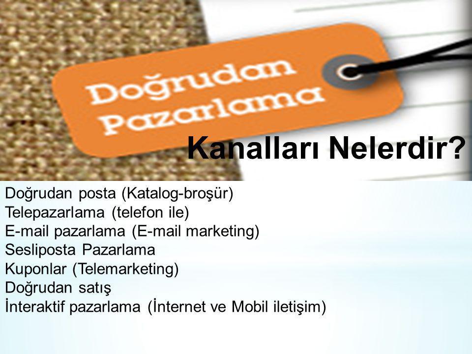 Kanalları Nelerdir? Doğrudan posta (Katalog-broşür) Telepazarlama (telefon ile) E-mail pazarlama (E-mail marketing) Sesliposta Pazarlama Kuponlar (Tel