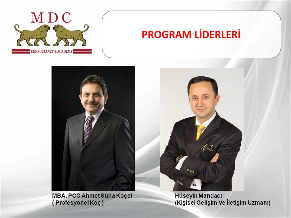 MBA, PCC Ahmet Süha Koçel ( Profesyonel Koç ) Hüseyin Mandacı (Kişisel Gelişim Ve İletişim Uzmanı) PROGRAM LİDERLERİ