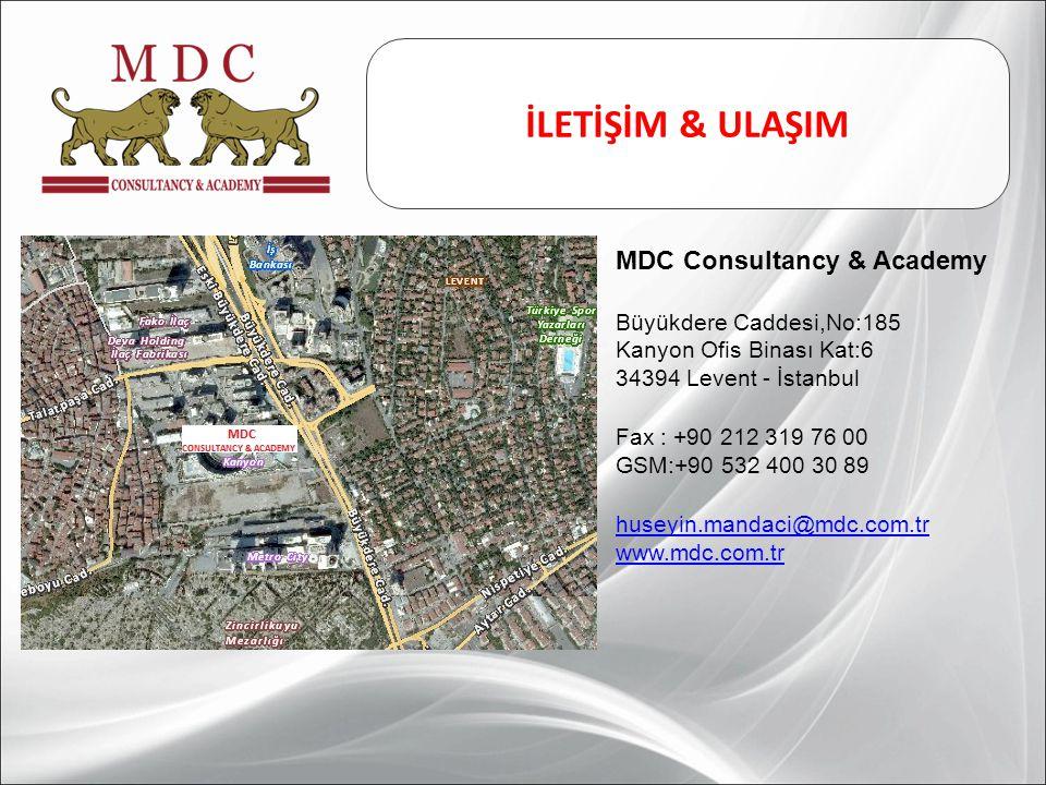 İLETİŞİM & ULAŞIM MDC Consultancy & Academy Büyükdere Caddesi,No:185 Kanyon Ofis Binası Kat:6 34394 Levent - İstanbul Fax : +90 212 319 76 00 GSM:+90