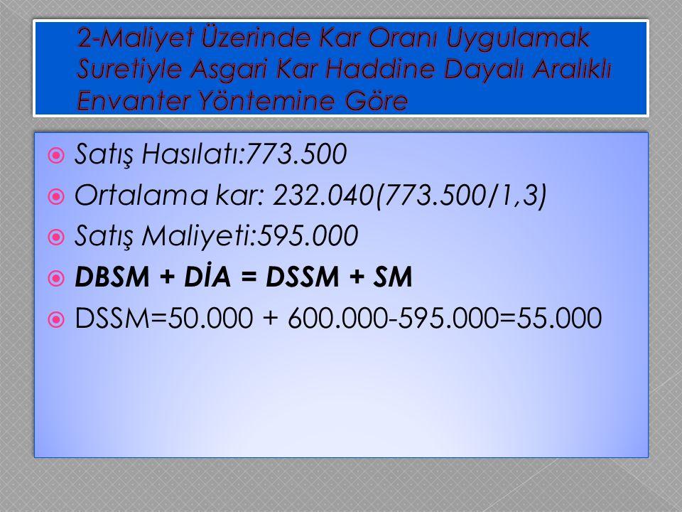  Satış Hasılatı:773.500  Ortalama kar: 232.040(773.500/1,3)  Satış Maliyeti:595.000  DBSM + DİA = DSSM + SM  DSSM=50.000 + 600.000-595.000=55.000