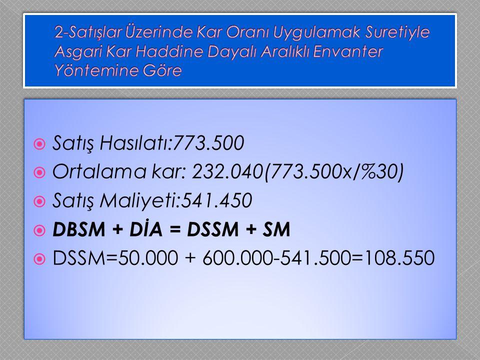  Satış Hasılatı:773.500  Ortalama kar: 232.040(773.500x/%30)  Satış Maliyeti:541.450  DBSM + DİA = DSSM + SM  DSSM=50.000 + 600.000-541.500=108.5