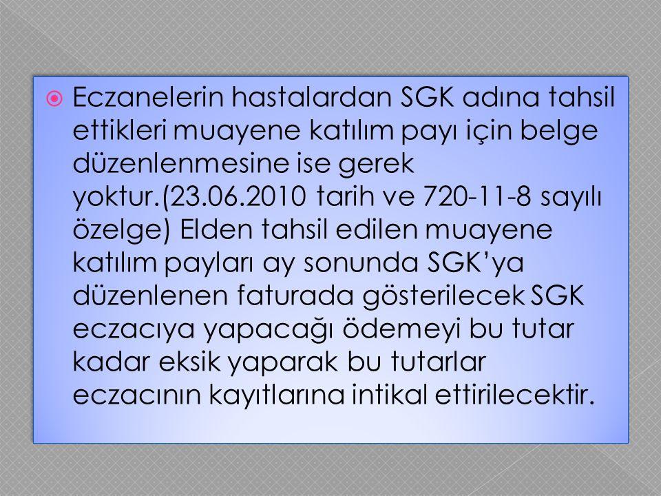  Eczanelerin hastalardan SGK adına tahsil ettikleri muayene katılım payı için belge düzenlenmesine ise gerek yoktur.(23.06.2010 tarih ve 720-11-8 say