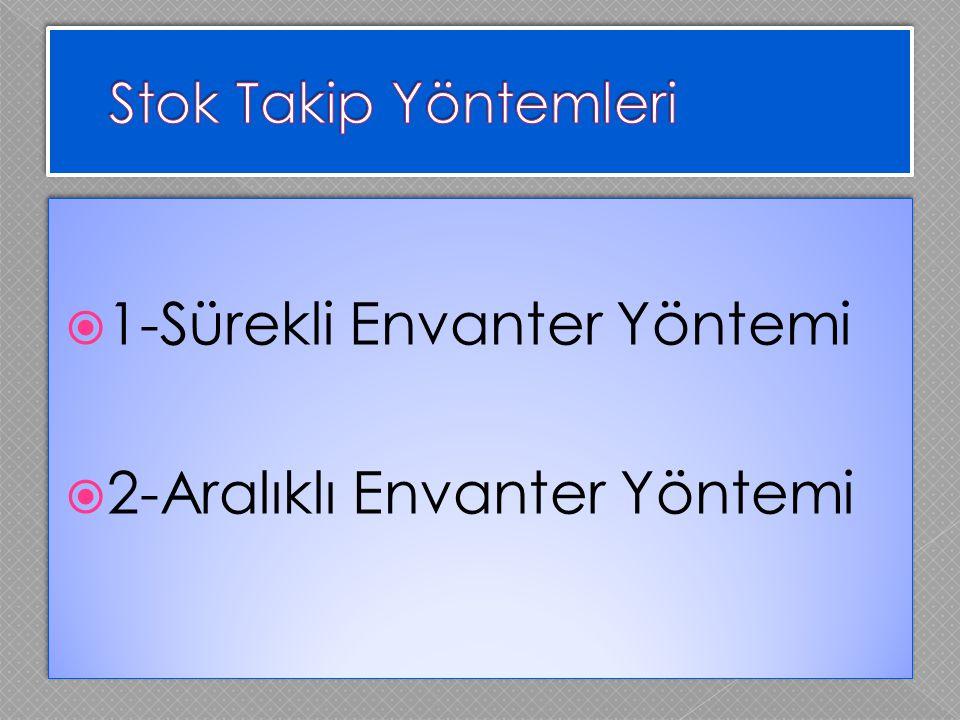  1-Sürekli Envanter Yöntemi  2-Aralıklı Envanter Yöntemi  1-Sürekli Envanter Yöntemi  2-Aralıklı Envanter Yöntemi