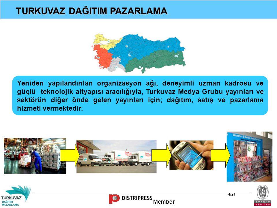 Member 5/21 MİSYON Hizmet verdiğimiz yayın ve ürünlerin dağıtımını, Türkiye genelinde etkin, yaygın, hızlı ve verimli bir sistem içerisinde, mümkün olan en uygun maliyet ve en etkili yöntemlerle gerçekleştirmek.