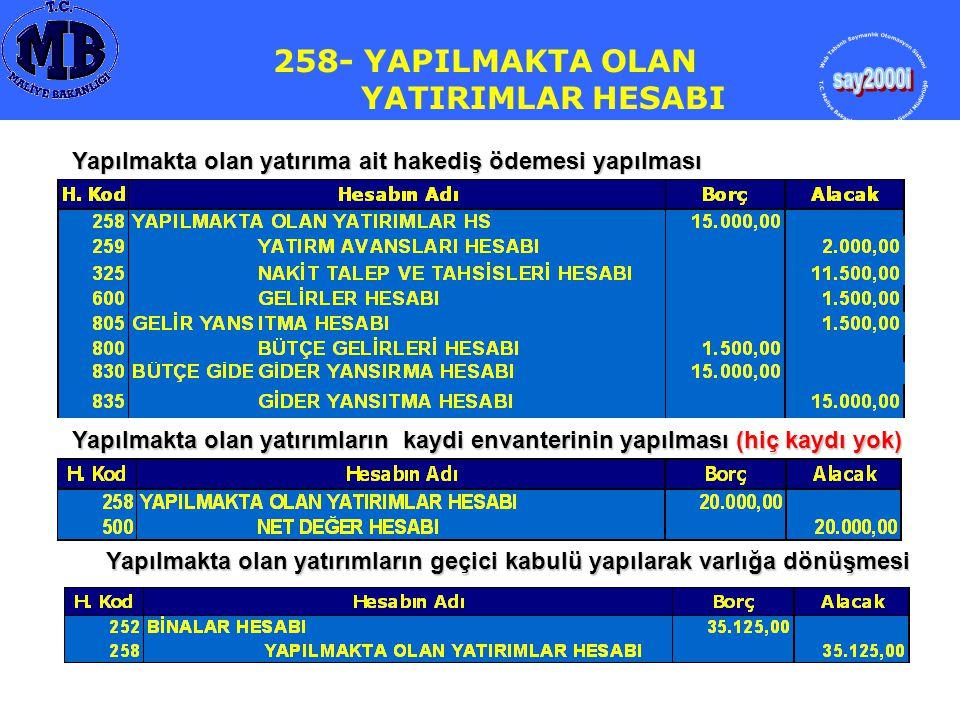 258- YA PILMAKTA LAN YATIRIMLAR HESABI Yapılmakta olan yatırıma ait hakediş ödemesi yapılması Yapılmakta olan yatırımların kaydi envanterinin yapılmas