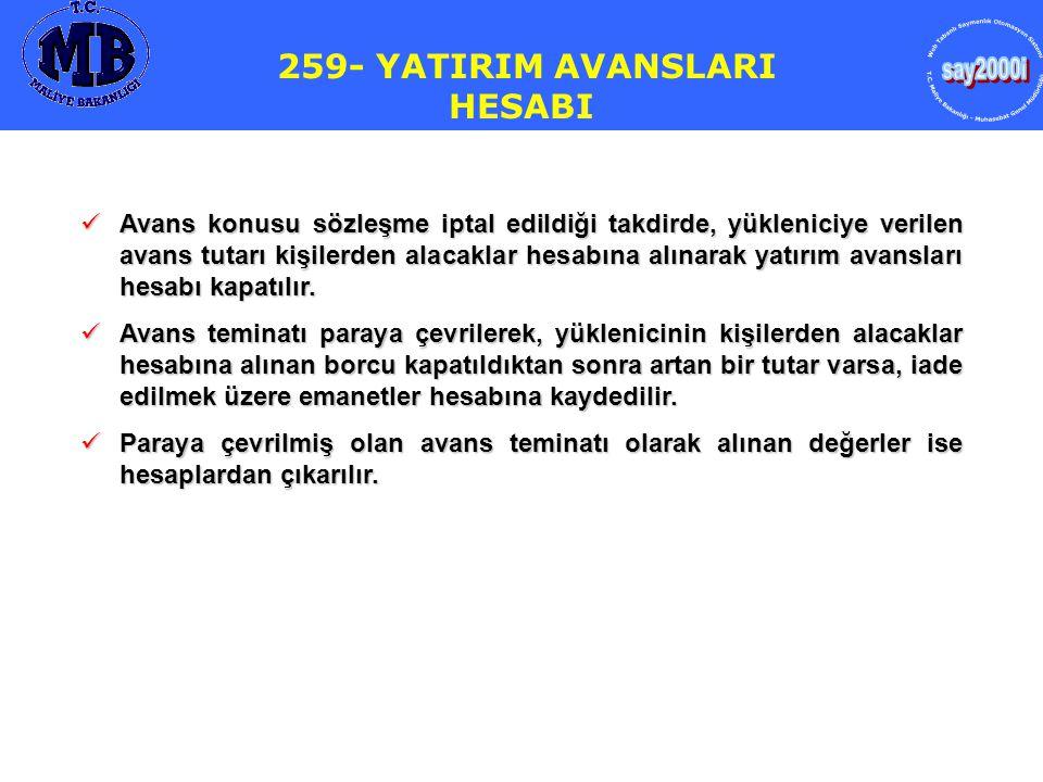 259- YATIRIM AVANSLARI HESABI  Avans konusu sözleşme iptal edildiği takdirde, yükleniciye verilen avans tutarı kişilerden alacaklar hesabına alınarak