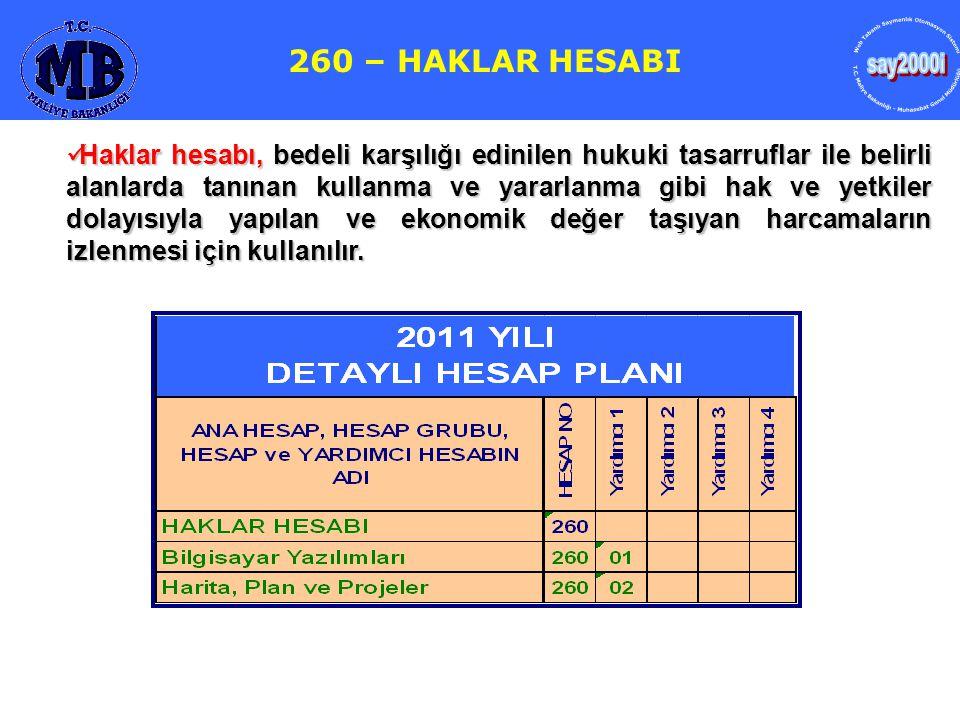259- YATIRIM AVANSLARI HESABI 260 – HAKLAR HESABI  Haklar hesabı, bedeli karşılığı edinilen hukuki tasarruflar ile belirli alanlarda tanınan kullanma