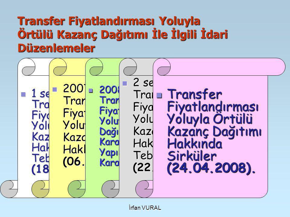 İrfan VURAL Transfer Fiyatlandırması Yoluyla Örtülü Kazanç Dağıtımı İle İlgili İdari Düzenlemeler  1 seri numaralı Transfer Fiyatlandırması Yoluyla Örtülü Kazanç Dağıtımı Hakkında Genel Tebliğ (18.11.2007).