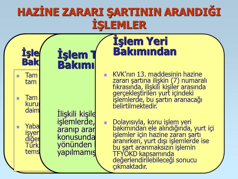 İrfan VURAL HAZİNE ZARARI ŞARTININ ARANDIĞI İŞLEMLER İşleme Taraf Olanlar Bakımından Hazine zararı şartı, ilişkili kişi kapsamındaki tüm kişi ve kurumlar arasındaki değil; sadece, tam mükellef kurumlar ile yabancı kurumların Türkiye deki işyeri veya daimi temsilcilerinin aralarında yapılan işlemler için aranılmaktadır.