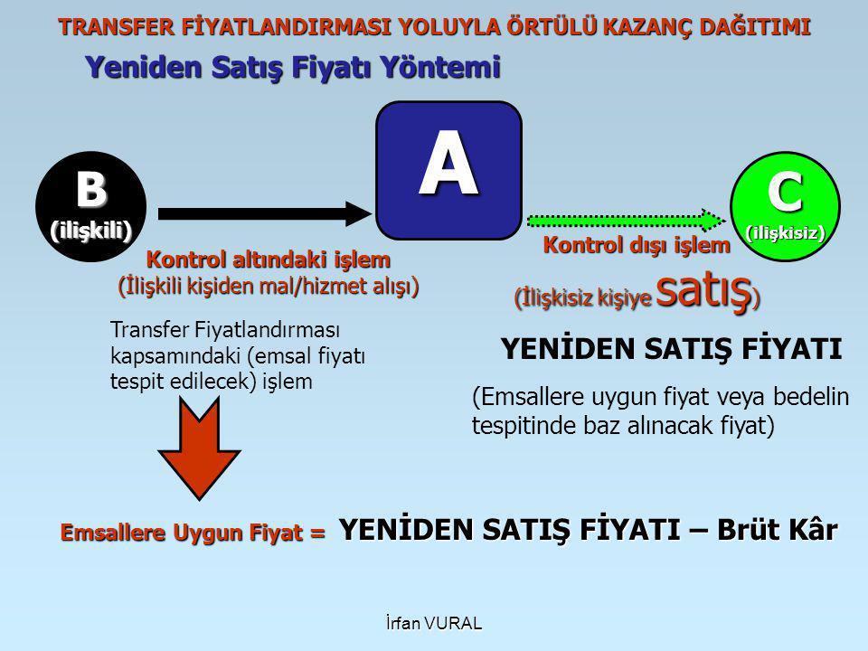 İrfan VURAL Yeniden Satış Fiyatı Yöntemi TRANSFER FİYATLANDIRMASI YOLUYLA ÖRTÜLÜ KAZANÇ DAĞITIMI A B(ilişkili)C(ilişkisiz) Kontrol dışı işlem (İlişkisiz kişiye satış ) Transfer Fiyatlandırması kapsamındaki (emsal fiyatı tespit edilecek) işlem YENİDEN SATIŞ FİYATI (Emsallere uygun fiyat veya bedelin tespitinde baz alınacak fiyat) Emsallere Uygun Fiyat = YENİDEN SATIŞ FİYATI – Brüt Kâr Kontrol altındaki işlem (İlişkili kişiden mal/hizmet alışı)