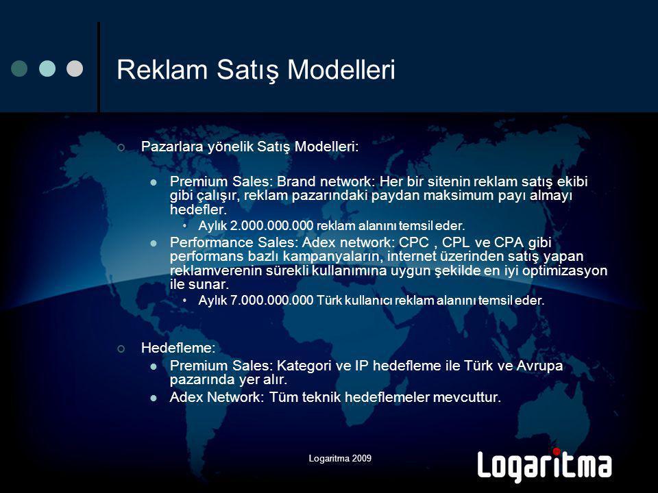 Logaritma 2009 Reklam Satış Modelleri Pazarlara yönelik Satış Modelleri:  Premium Sales: Brand network: Her bir sitenin reklam satış ekibi gibi çalışır, reklam pazarındaki paydan maksimum payı almayı hedefler.