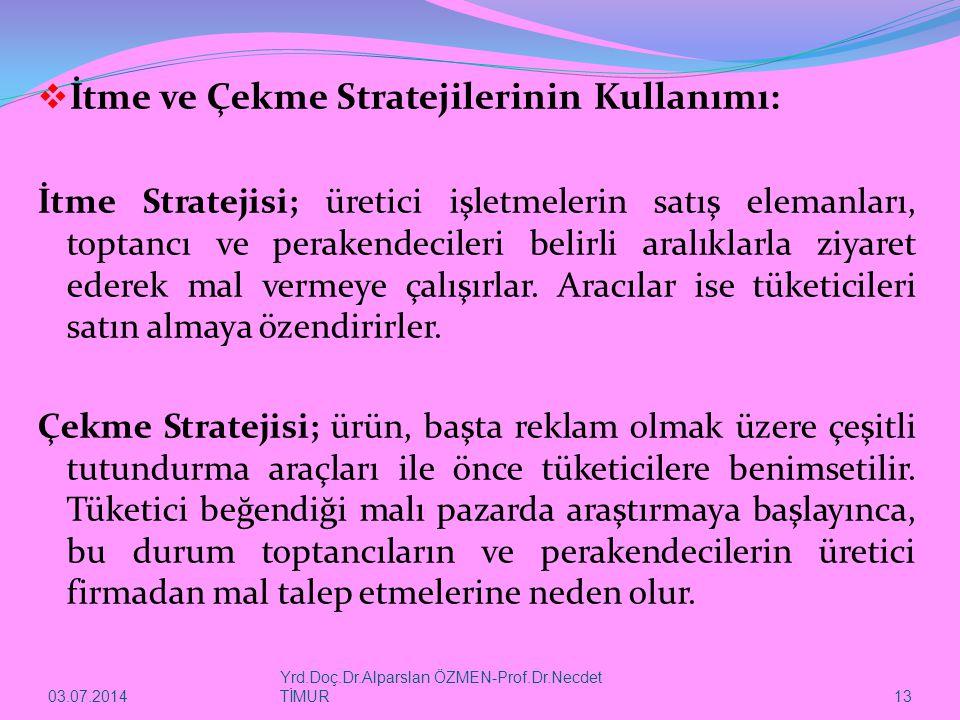 03.07.2014 Yrd.Doç.Dr.Alparslan ÖZMEN-Prof.Dr.Necdet TİMUR 13  İtme ve Çekme Stratejilerinin Kullanımı: İtme Stratejisi; üretici işletmelerin satış elemanları, toptancı ve perakendecileri belirli aralıklarla ziyaret ederek mal vermeye çalışırlar.
