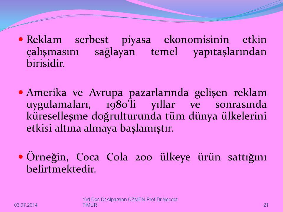 03.07.2014 Yrd.Doç.Dr.Alparslan ÖZMEN-Prof.Dr.Necdet TİMUR 21  Reklam serbest piyasa ekonomisinin etkin çalışmasını sağlayan temel yapıtaşlarından birisidir.
